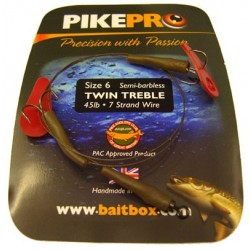 Pike Pro Semi Barbless Treble Two Hook Deadbait Trace