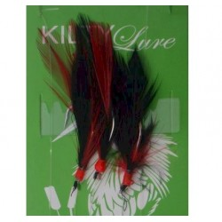 Kilty Feathers 3 hook Red Black 10 Pack