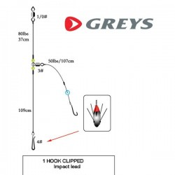Greys 1 Hook Clipped Rig 2/0 for Impact Lead