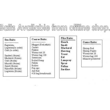 List of baits available from Our Offline Store henrys