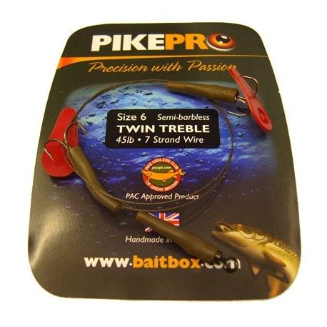 Pike Pro Semi Barbless Treble Two Hook Deadbait Trace henrys