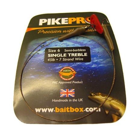 Pike Pro Semi Barbless Treble Single Hook Deadbait Trace henrys