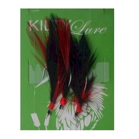 Kilty Feathers 3 hook Red Black 1/0 henrys