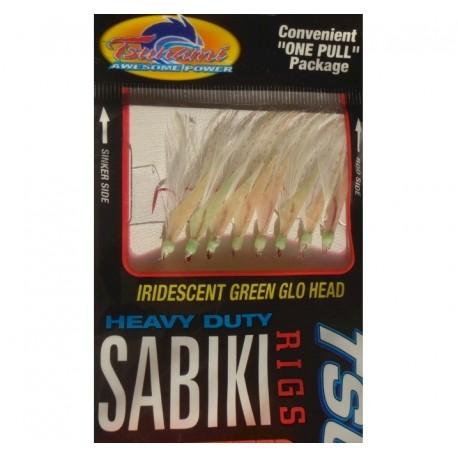 Tsunami Pro Sabiki Green Glo Head Red Hook Size 16 henrys