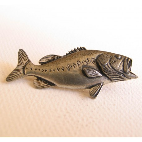 Pewter Fishing Badge Bass henrys