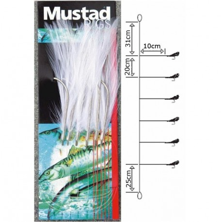 Mustad White Mackerel Feather Rig henrys