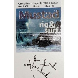 Mustad crossline crimpable rolling swivel