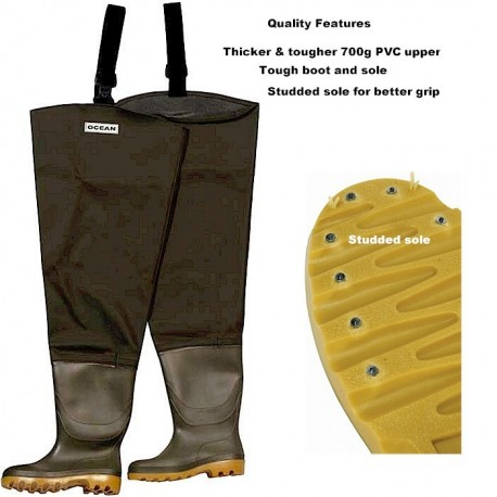 Ocean 700g Deluxe Studded Thigh Waders henrys