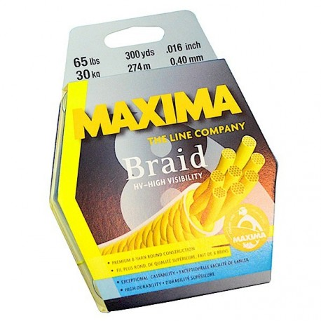 Maxima Braid Hi Vis Yellow 300m 30lb henrys