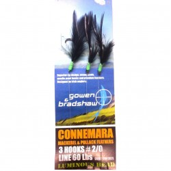 Gowen and Bradshaw Connemara Black Cod Pollack Lumi Head Feathers