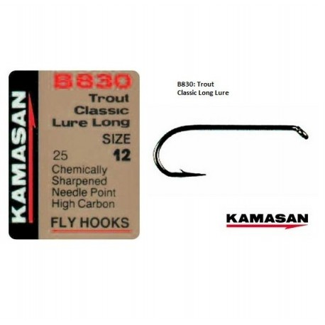 Kamasan B830 Classic Lure Long Shank  Fly Hooks henrys