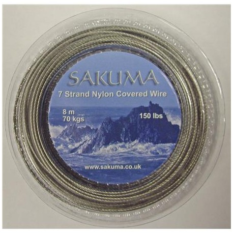 Sakuma Nylon Covered Stainless Trace Wire & Crimps henrys