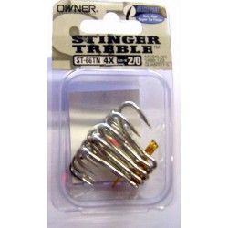 Owner ST66 4X Nickel Treble Hooks