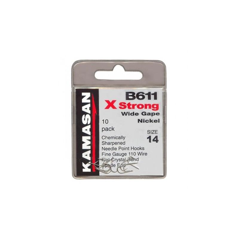 Free P/&P Kamasan B611 X Strong Wide Gape Nickel Barbless Spade End Hooks
