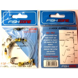 Fishzone 3 Hook Clipped Long Range Beach Rig