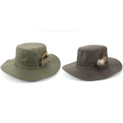 Hawkins Wide Brim Outback Style Wax Cotton Bush Hat with Feather