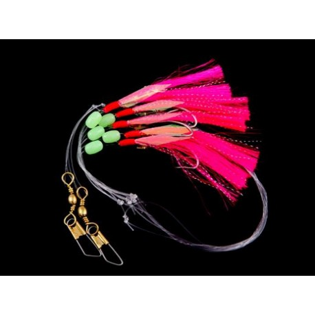 Gowen  and Bradshaw Saltwater Pink  5 Hook Flasher Rig 3/0 henrys