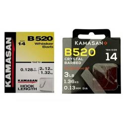 Kamasan B520 Whisker Barb Spade End Hooks To Nylon