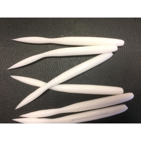 Rooney 5inch  Bulb Tail Worm Pure White henrys